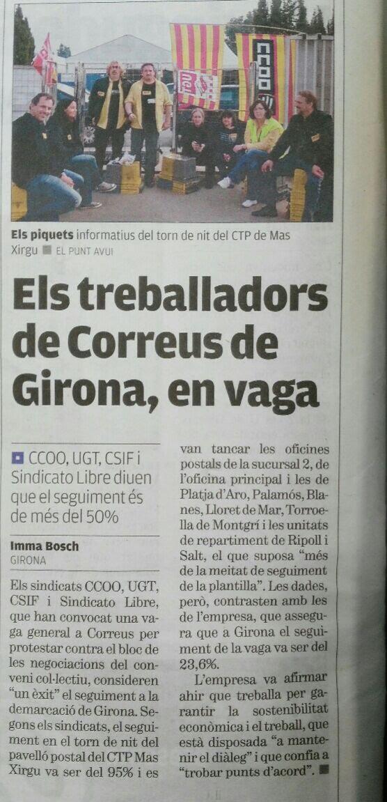 ELS TREBALLADORS I TREBALLADORES DE GIRONA EN VAGA